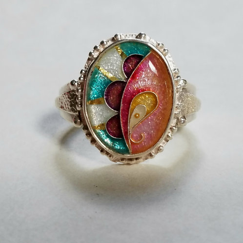 Rosey Hues Cloisonne Ring