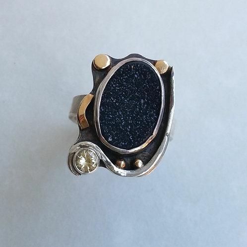 Black druzy with topaz ring