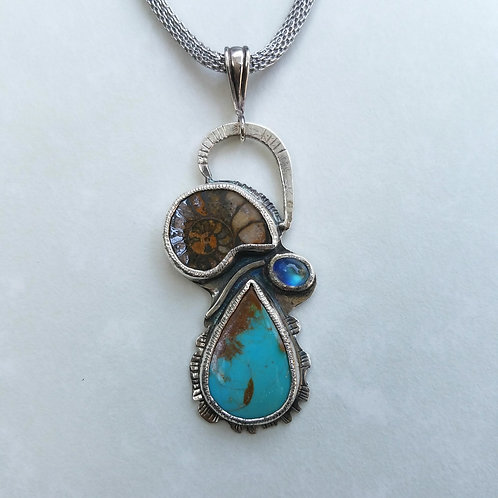 Turquoise with Ammonite pendant
