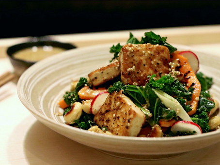 Warm Tofu Salad Sesame Soy Dressing (Vegan)