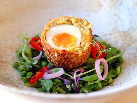Vietnemese Scotch Eggs Warm Pea and Herb Salad