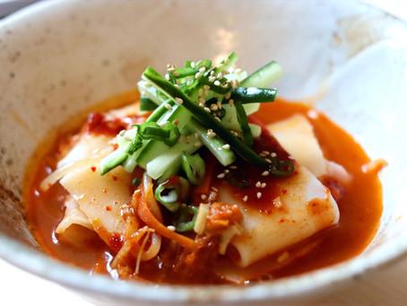 Korean Flat Udon Kimchi Broth (Vegan)