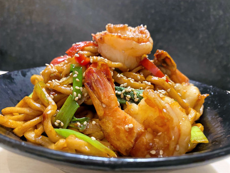Shrimp Lo Mein (homemade noodles)