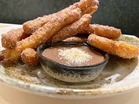 Coconut Churros - Chocolate Rum Coconut Sauce
