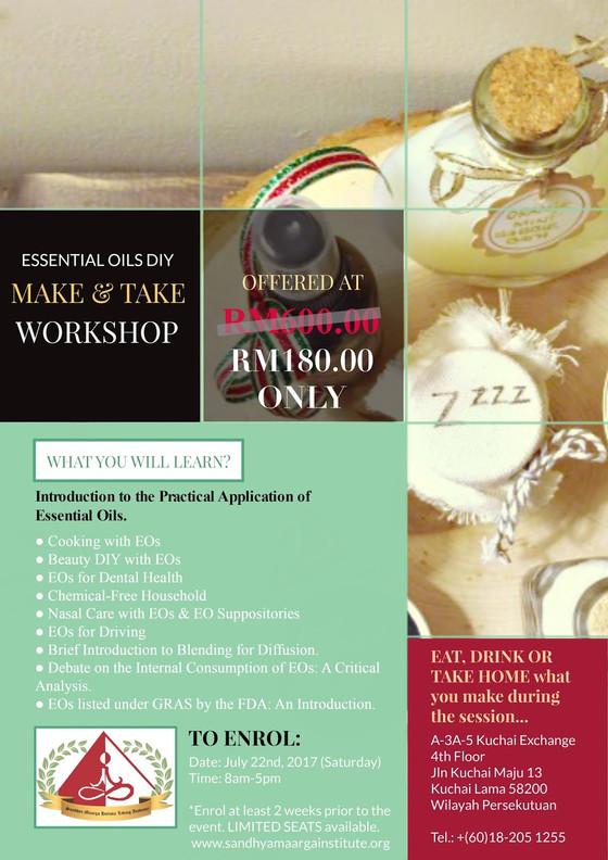 Essential Oils / Aromatherapy DIY Make & Take Workshop (Kuala Lumpur)