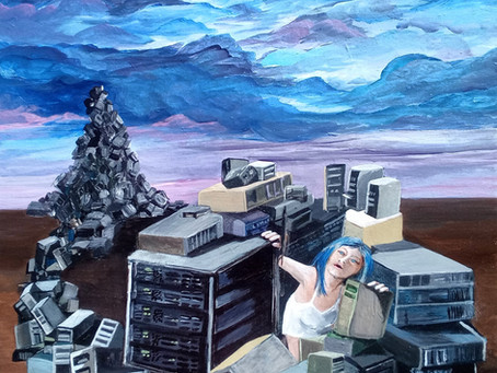 Dystopian Isolation Computer Hacker Girl Painting Sonya Allen