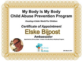 Elske Bijpost Ambassador for the My Body Is My Body Programme