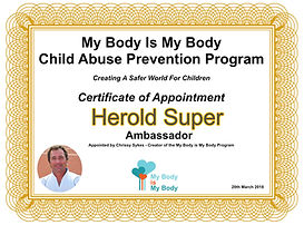Herold Super Ambassador for the My Body Is My Body Programme