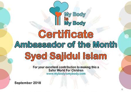 Ambassador of the month-September 2018.j