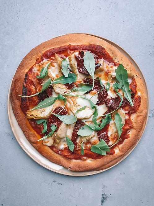Artisjok, gekonfijte tomaat, rucola, gerookte mozzarella