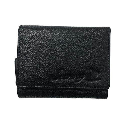 牛革三つ折りミニ財布(ブラック)
