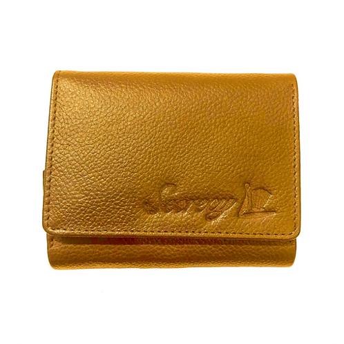 牛革三つ折りミニ財布(ゴールド)