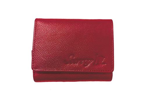 牛革三つ折りミニ財布(レッド)