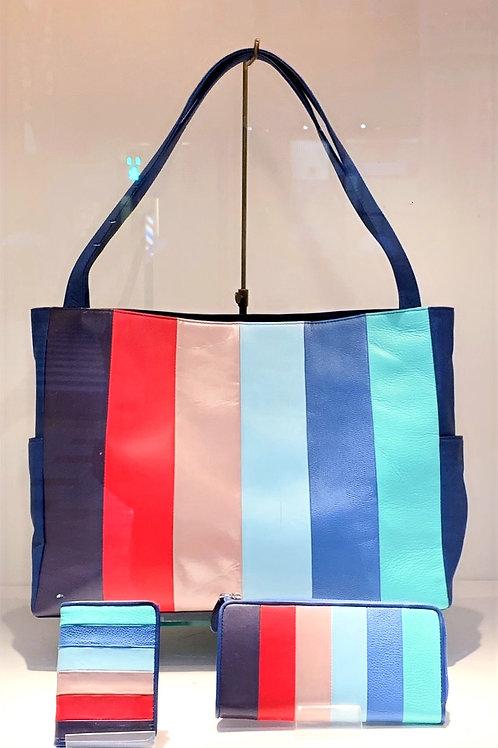 ストライプトートバッグ(ブルー)