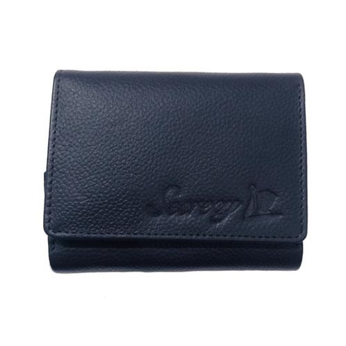 牛革三つ折りミニ財布(ネイビー)