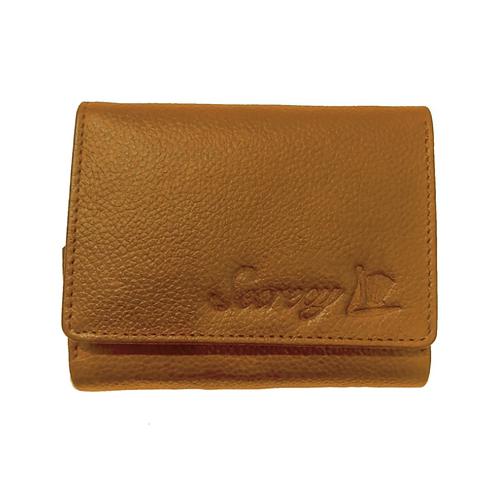 牛革三つ折りミニ財布(キャメル)