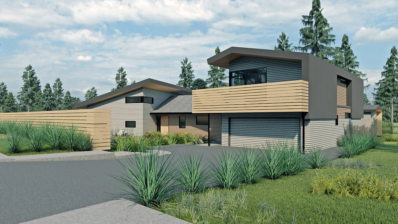Exterior rendering of 3D architectural model