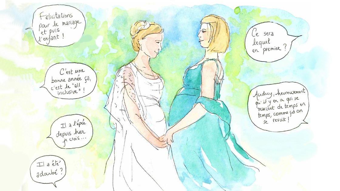 Croquis de mariage - félicitations à la mariée