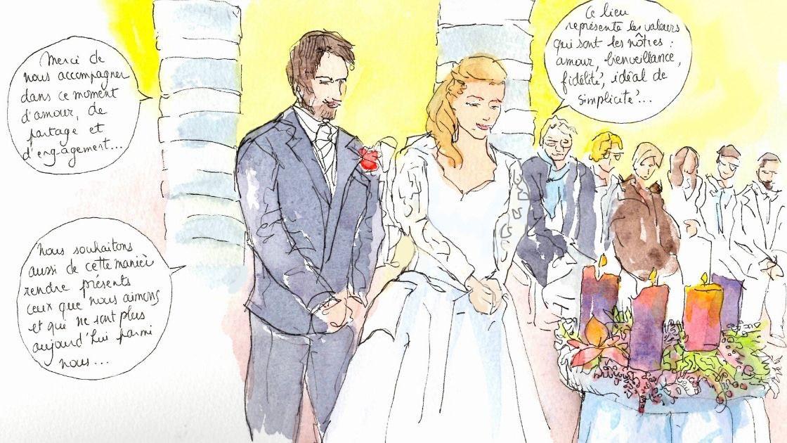 Croquis de mariage religieux