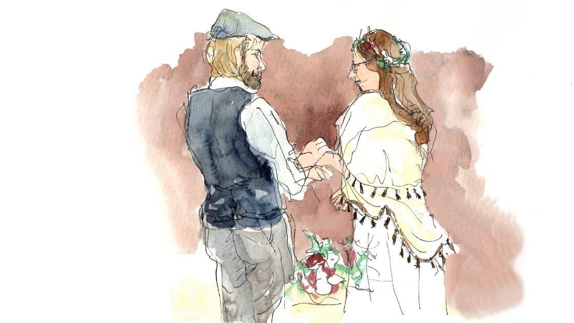 Croquis de mariage - union civile