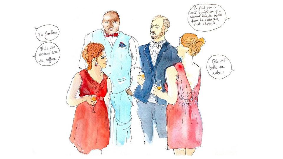 Croquis de mariage - Vin d'honneur