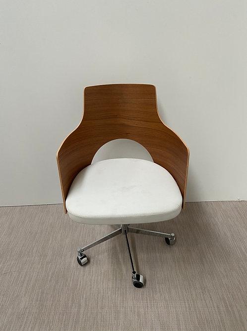Fotel fornirowane oparcie siedzisko z białej skóry