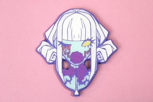 suffocating enamel pin