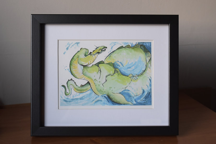 Framed Loch Ness monster print