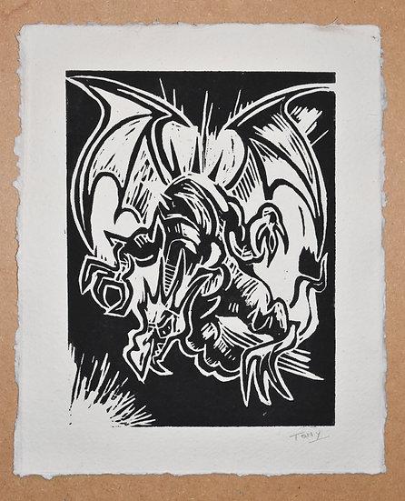 Dragon - Linocut Print