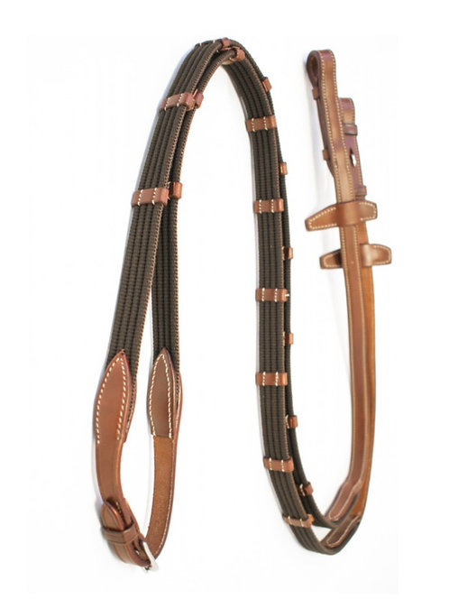 Signature by Antares Rubber Reins 5/8 with Leather Loops