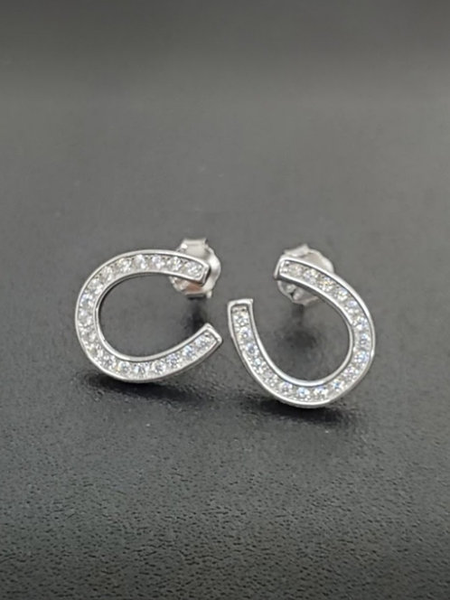 Awesome Artifacts Sterling Silver Pave Horseshoe Earrings