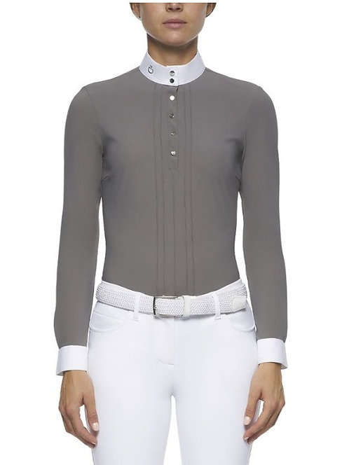 Cavalleria Toscana Pleated L/S Jersey Competition Polo Shirt