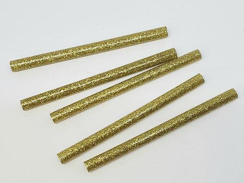 """Gold Glitter Mini Hot Glue Sticks, 4"""" (5 pack)"""