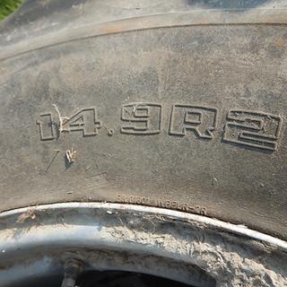 Pair of 14.9R28 Good Year dual wheels