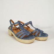 Sandalha de Salto Trançado Azul Camurça