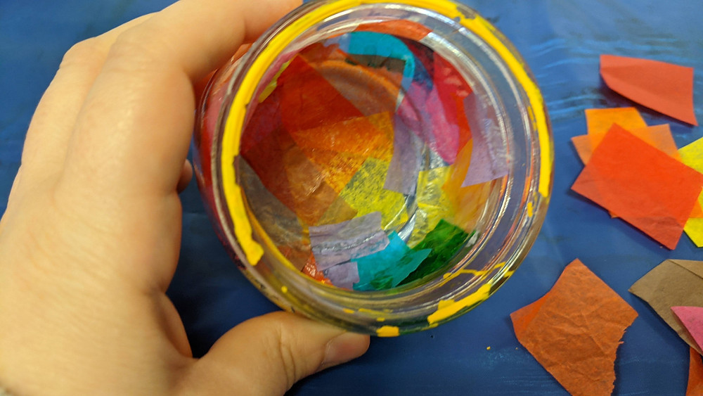 inside of silhouette jar after adding tissue paper