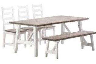 Rustiikki pöytä 3 tuolia ja penkki