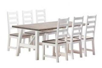 Rustiikki pöytä ja 6 tuolia