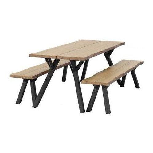 Lankkupöytä  150x89 + 2 penkkiä