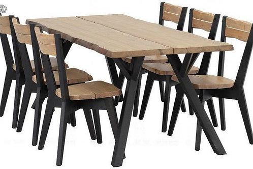 Lankkupöytä 200x88 + 6 tuolia