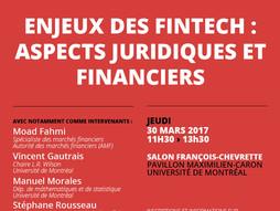 Table Ronde - Enjeux des FinTech: Aspects Juridiques et Financiers. Faculté de Droit, Université de