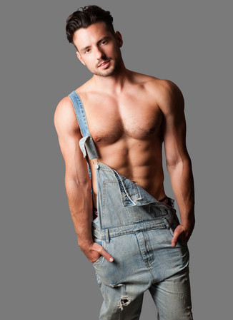 Male Fashion Model in Overalls