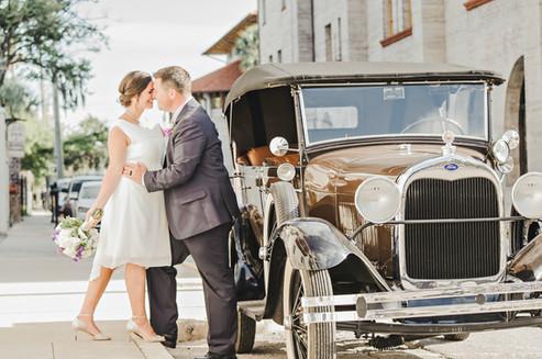 Wedding Portrait by Vintage Car