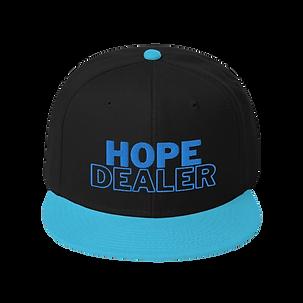 Black and light blue baseball hat with hope dealer logo