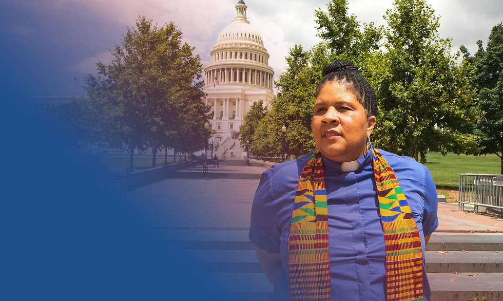 Rev Wendy Hamilton standing in front of the United States Capitol in Washington DC