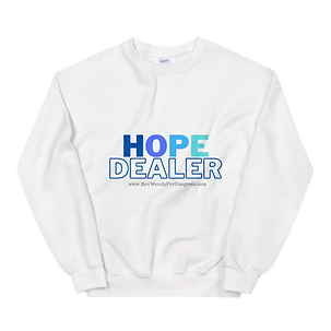 White long sleeve tshirt with hope dealer logo and Rev Wendy for congress website
