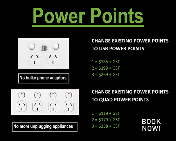 Power point special. USB power point and quad power point