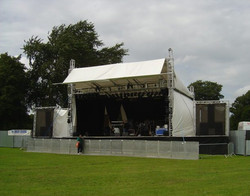 10m covered stage with lighting rig
