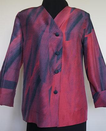 Long Simple Jacket, pattern Red Amaryllis, size S