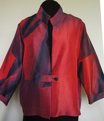 Short Shirt Jacket, pattern Red Amaryllis, size M